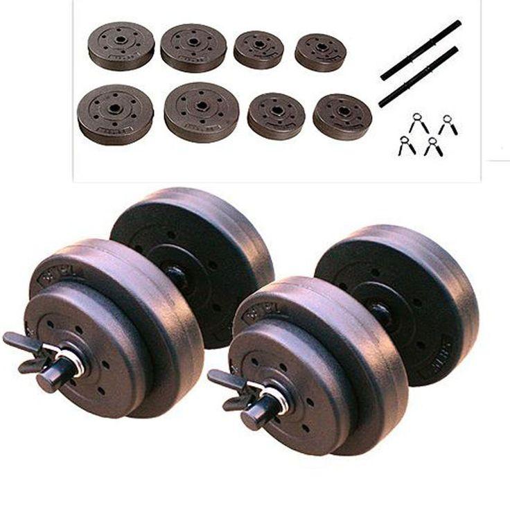 Gold's Gym 40 LB Adjustable Weight Dumbbells Set Cap Barbell Plates Body Workout #GoldsGym