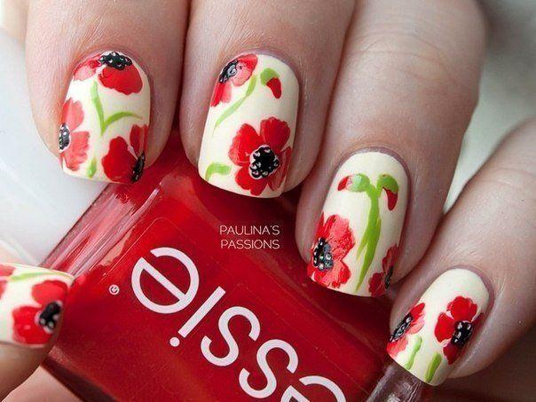 Beautiful nails 2016, Bright summer nails, Drawings on nails, Floral nails, flower nail art, Nails ideas with flowers, Nails withpoppies, Nails withred flowers