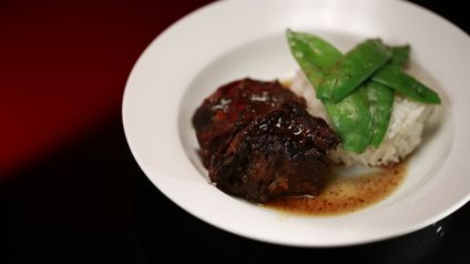 Slow Cooked Beef Cheeks in Soy and Orange Sauce