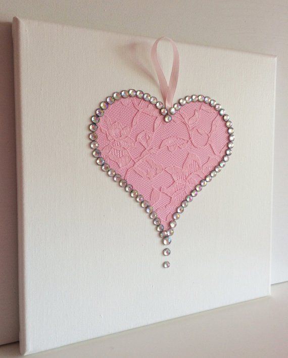 Hearts Wall Art Set Of 3 Pink And White Girls Room Handmade