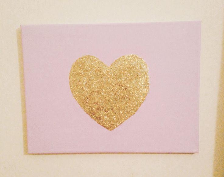 DIY glitter heart canvas ♡