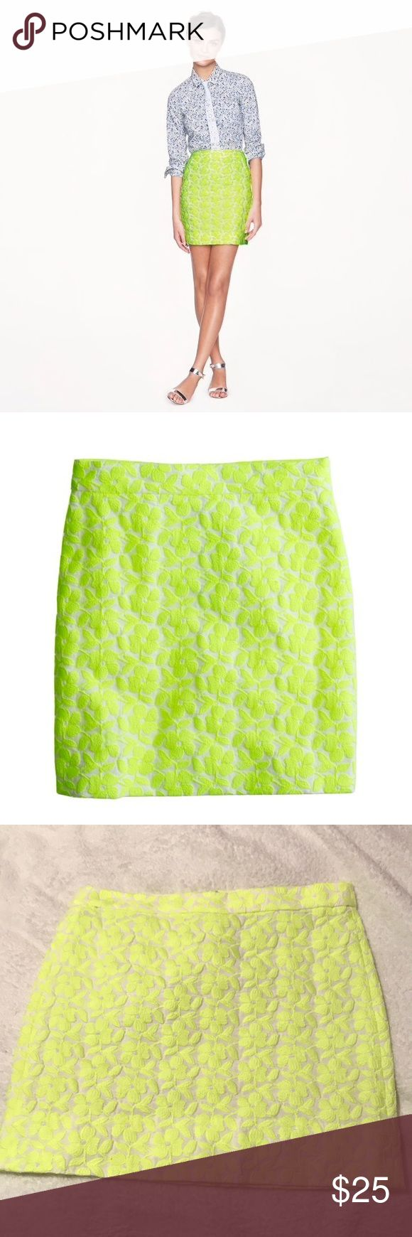 "J.Crew postage stamp mini in neon floral J.Crew postage stamp mini skirt in embroidered neon floral. Sits above hip, falls above knee, 16.5"" long according to site. Dry clean only. 50% cotton, 50% polyester, lining 50% polyester. Back zipper and hook at top. Color is a very bright neon yellow, pictures do not do it justice! J. Crew Skirts Mini"