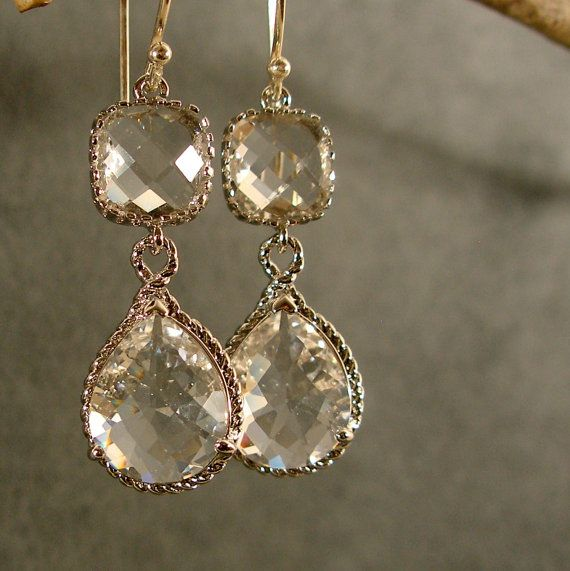 Crystal Fancy Glass Silver Earrings, Bridesmaid Jewelry, Wedding Earrings, Silver Earrings (3439). $31.00, via Etsy.