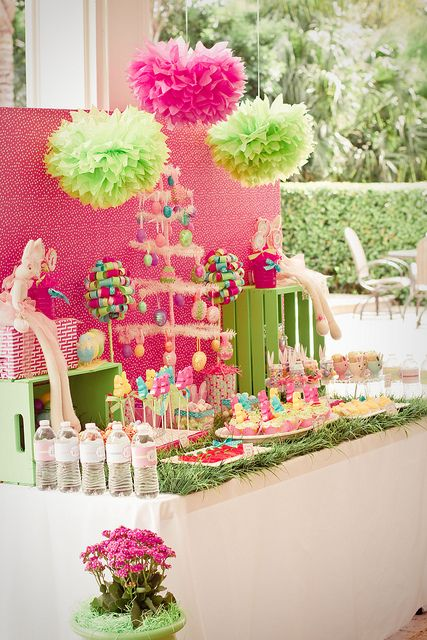 #Fiesta de #primera #comunión en color rosa y verde