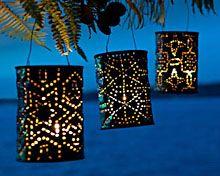 Coffee can lanterns.