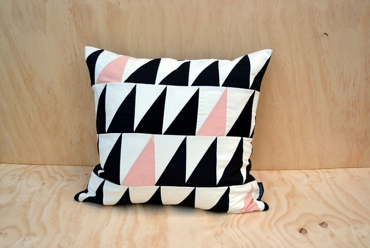 Geometric cushion cover triangles // black white pale by sisauvage, kr260.00