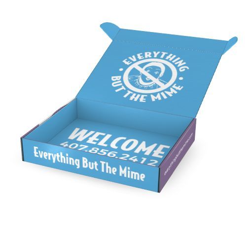 Introductory direct mail box for Everything But the Mime