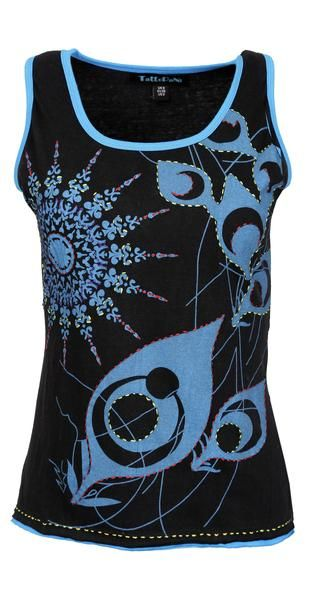 Ladies sleeveless Tank Tops with peacock feather inspired print and outline embroidery