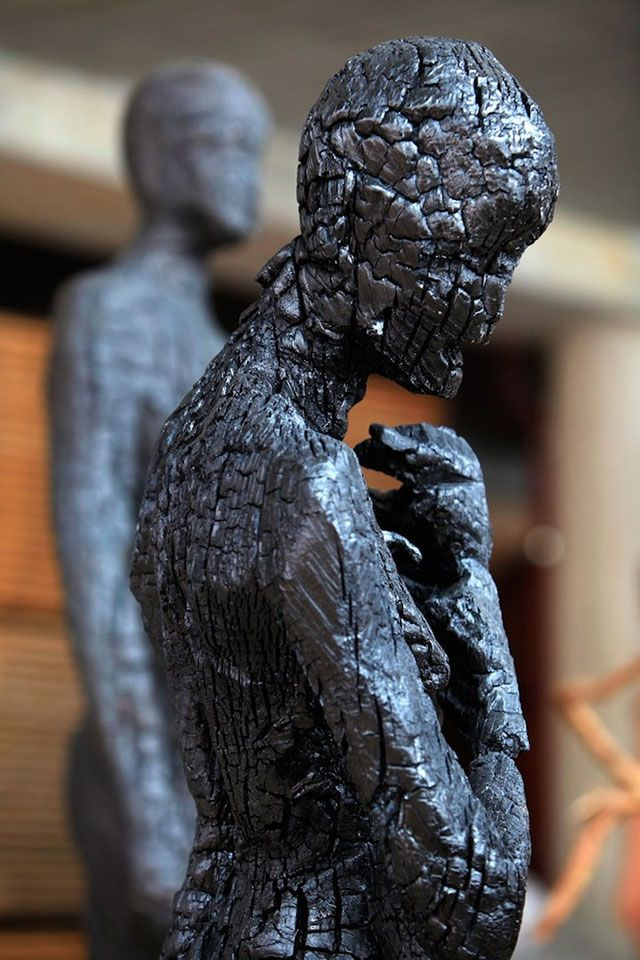 ༻⚜༺ ❤️ ༻⚜༺ Charred Wood Sculpture // By Italian Artist Aron Demetz ༻⚜༺ ❤️ ༻⚜༺