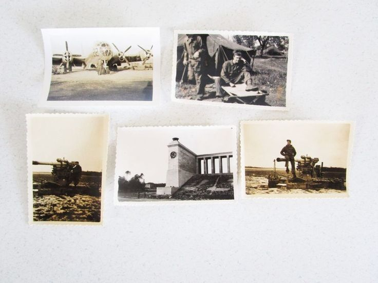 Lot of 5 Vintage Sepia B&W Photographs WW2 Plane Tank Camp Soliders World War 2