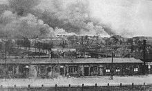 Burning ghetto viewed from Żoliborz district.