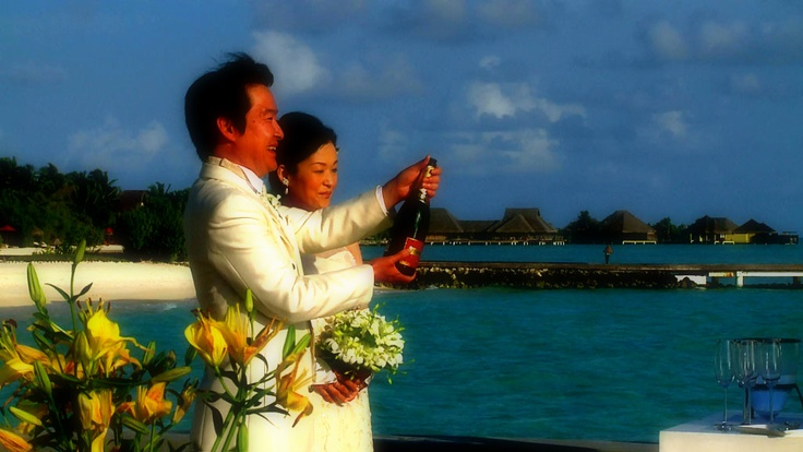 Celebrations following the Renewal of Vows ceremony at Taj Exotica, Maldives