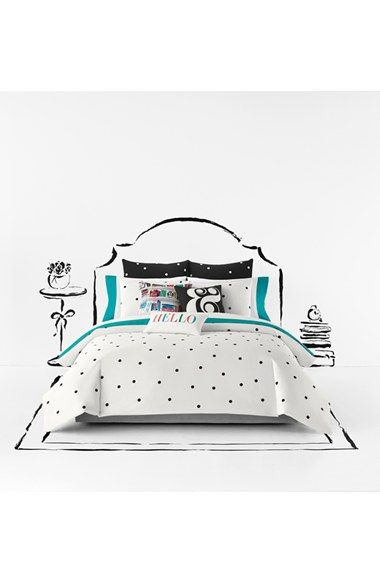 The mod polka dot pattern on this bedding totally adds signature Kate Spade charm to the bedroom décor.