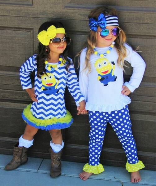 Adorable girls minion outfit or dress Comes as a 2 piece pant and top set, or a long sleeved dress! Sizes 6-12 months up to 7/8 Dress - 20.00