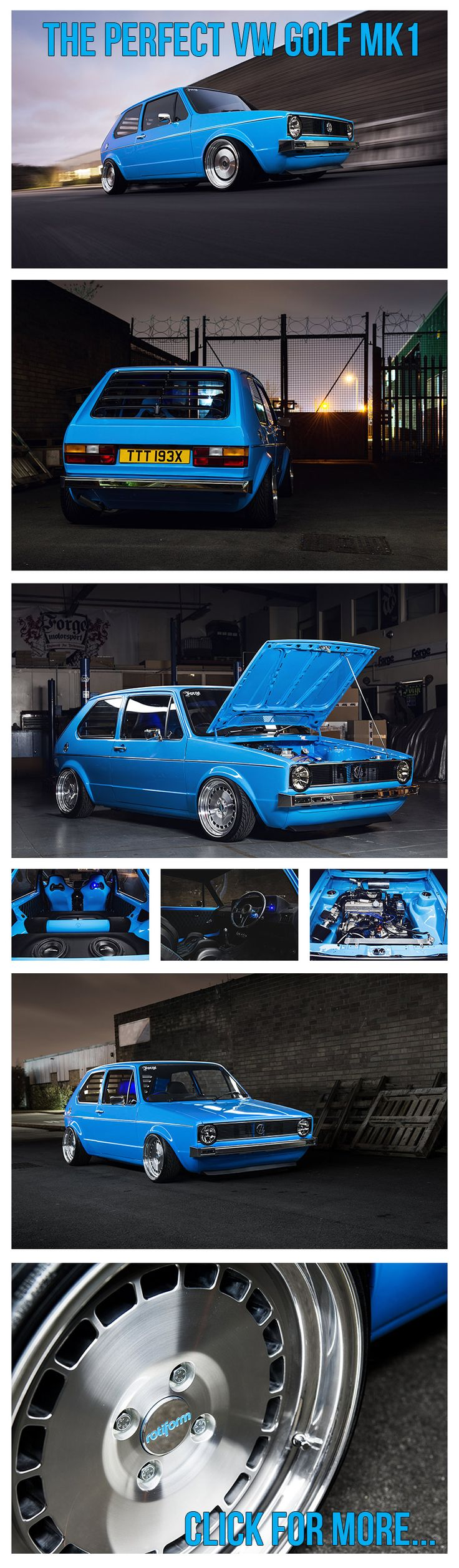 VW Golf GTI mk1 Rotiform, Forge Motorsport, Pipercross, Airlift performance, powerflex, scorpion