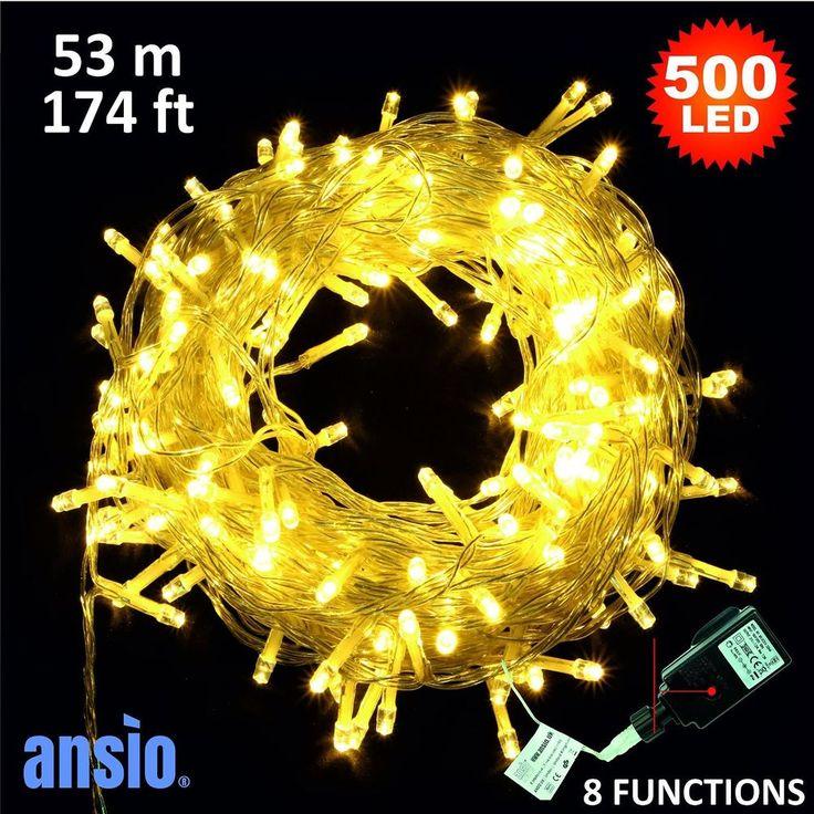 Fairy Lights 500 LED Warm White Xmas Garden Tree Outside Inside Decor 53m New