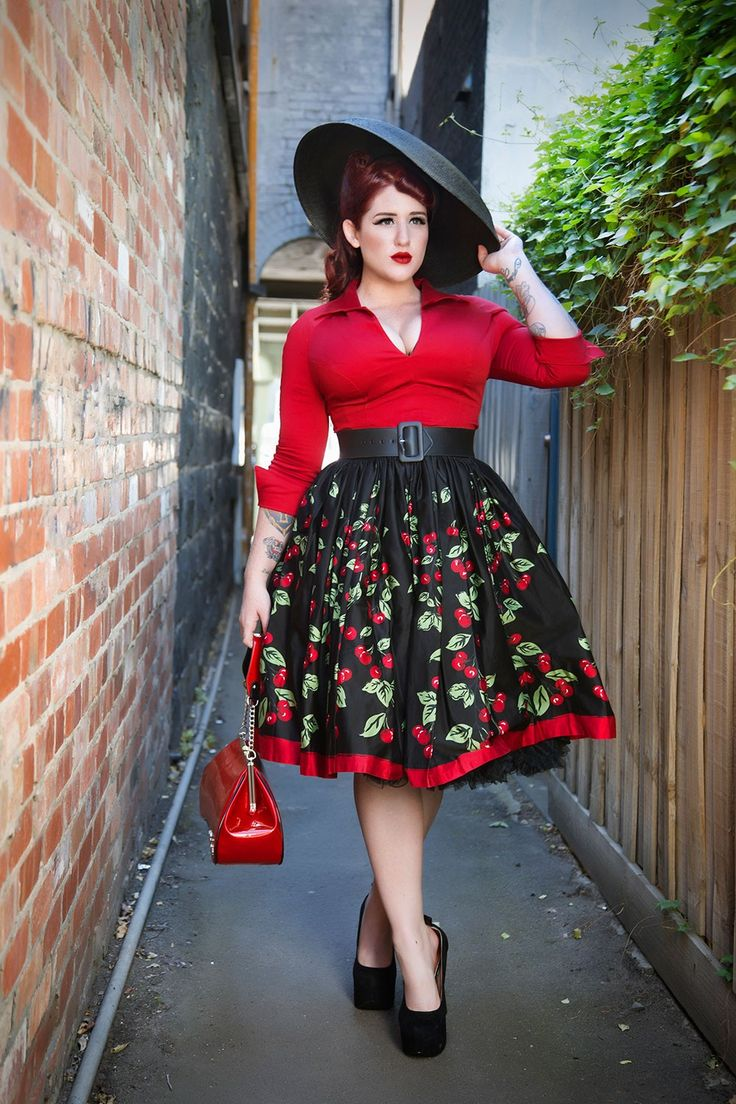 Pinup Couture- Jenny Gathered Full Skirt in Cherry Border Print - Plus Size   Pinup Girl Clothing