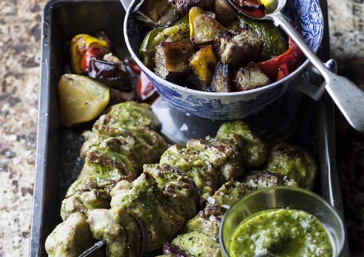 Chicken Espetada with Warm Pesto Veggies