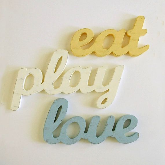 Eat Sign, Play Sign, Love Sign Kitchen Decor.  Cottage Style. Antique Yellow, Creamy Ivory, Vintage Blue via Etsy