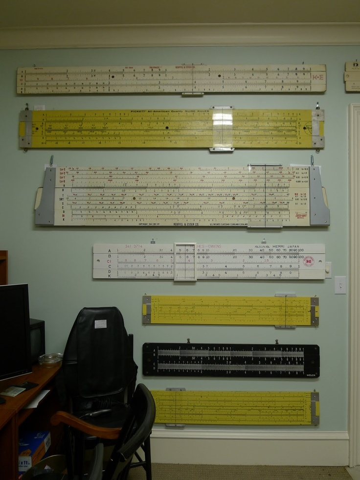 Demonstration slide rules (picture from the excellent online Slide Rule Museum!).