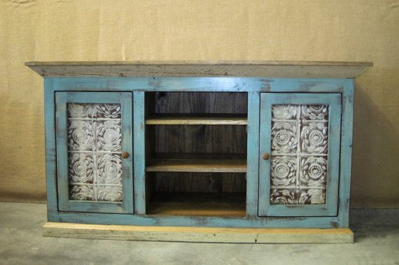 Distressed Cottage Blue Media Console Tv Cabinet With