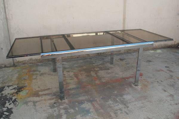 Milo Baughman Expanding Chrome Smoked Glass Dining Table