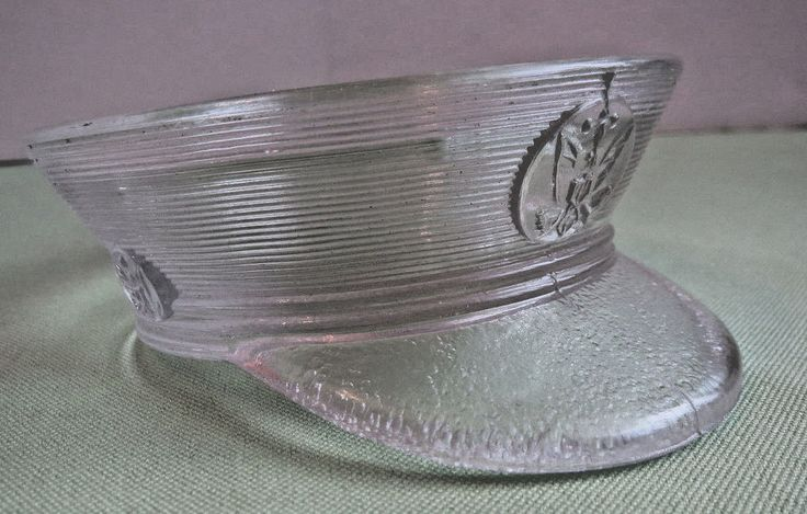1940s WWII WW2 Era Glass US Army Military USGI Crusher Hat Cap Candy Container