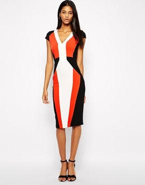 Enlarge ASOS Pencil Dress in Colour Block with V-Neck