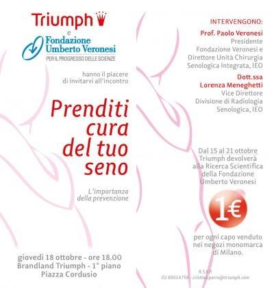 Ottobre mese della #prevenzione del tumore al #seno: ecco la nostra iniziativa con Triumph