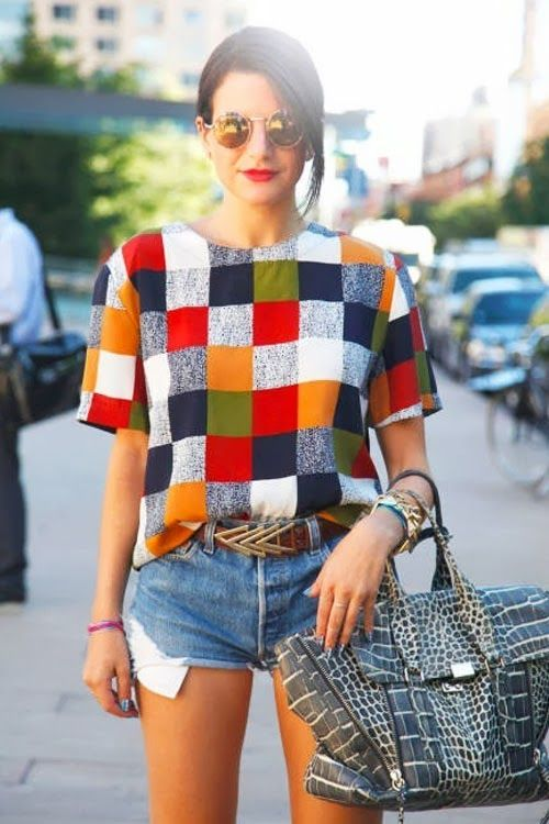 colorful checkered top.