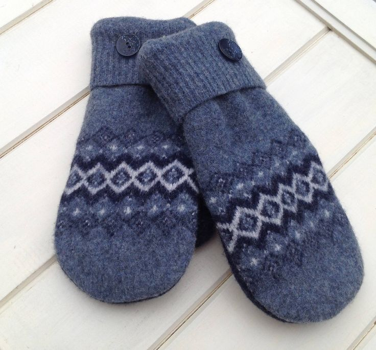 Felted Wool Blue and White Upcycled Sweater Mittens for Women Size Small Navy Blue Polar Fleece Lining and Blue Sparkle Plastic Buttons by SewforYou on Etsy
