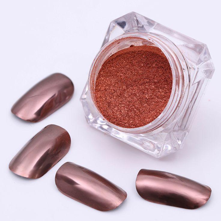 BORN PRETTY 2g Mirror Powder Rose Gold Glitter Powder Ultrafine Dust Nail Art Glitter Chrome Pigment Manicure Nail Decoration