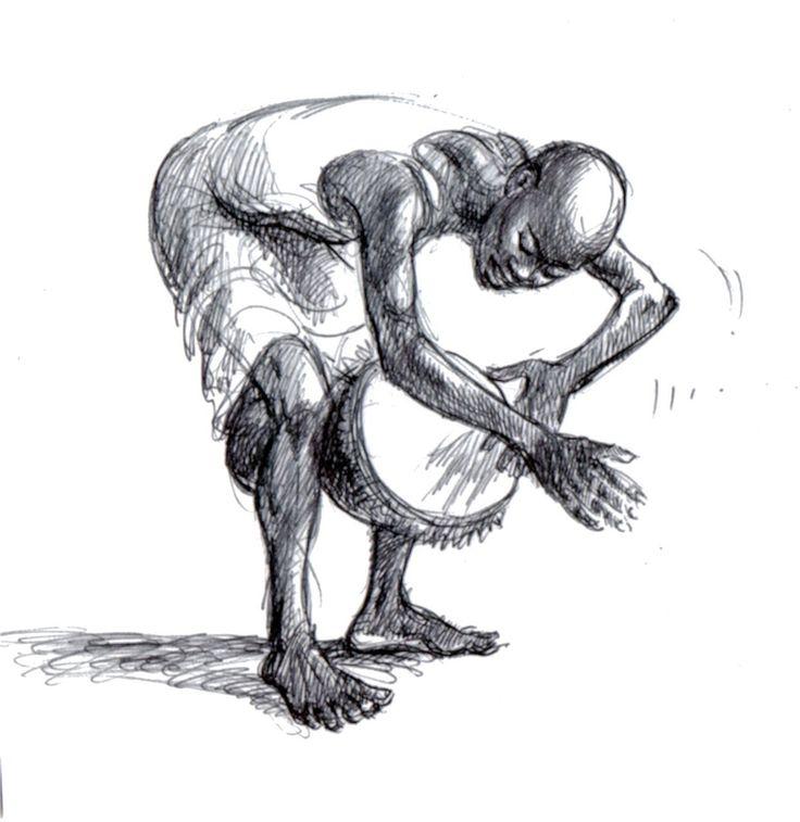 Drumming Man Over Djembe | Pen Drawing