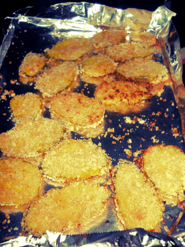 I am obsessed with Zombie Burger's Fried Pickles.. I found a recipe that is pretty much dead on but these are baked & much lighter! I use Vlasic pickles.. just because I prefer them. Dip pickles in eggs & flour then in worcestershire, hot sauce, garlic powder, cajun seasoning, pepper & panko bread crumbs. Broil for 5 mins each side. SO GOOD!: Tartar Sauce, Recipes Call