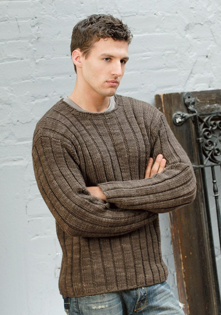 Men's Ribbed Sweater in Blue Sky Fibers Worsted Hand Dyes
