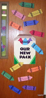 Classroom Door Decoration for September - Pack of crayons with student names