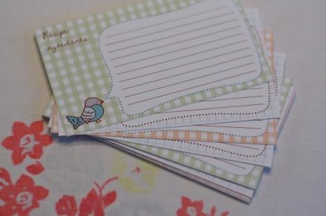 Schede per ricette stampabili – Printable Bird Recipe Cards