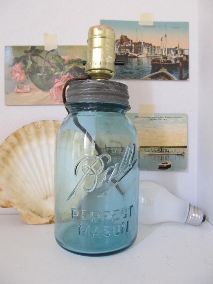 Blue Mason jar lamp...like this idea