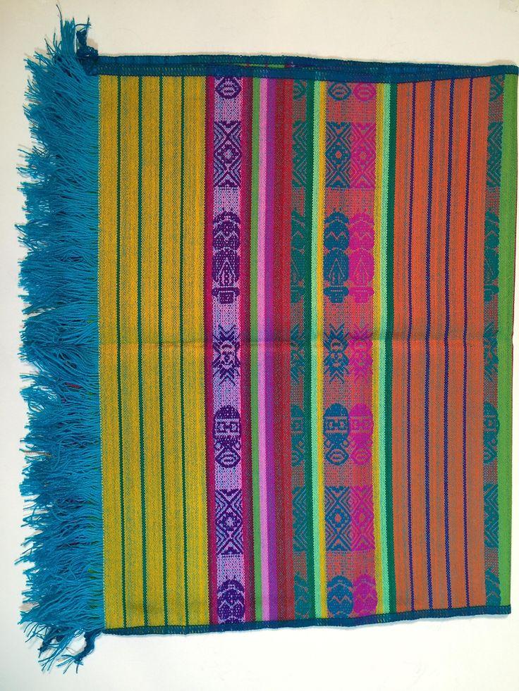 Serape Hand Woven Traditional Table Runner (Aqua)