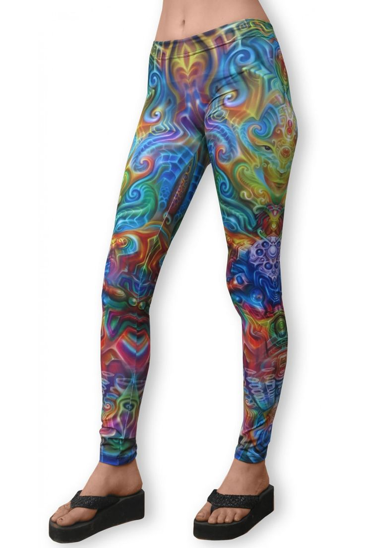 "Sublime Leggings : Holographic Altar Sublimation print lycra leggings. The design is printed using dye sublimation technology on a high quality, 4-way stretch, polyester lycra. This gives extremely juicy, vibrant colors that will never fade away, no matter how many times they get washed, & results in an extremely soft ""feel"" to the leggings for ultimate comfort. Artwork by Fabian Jimenez"