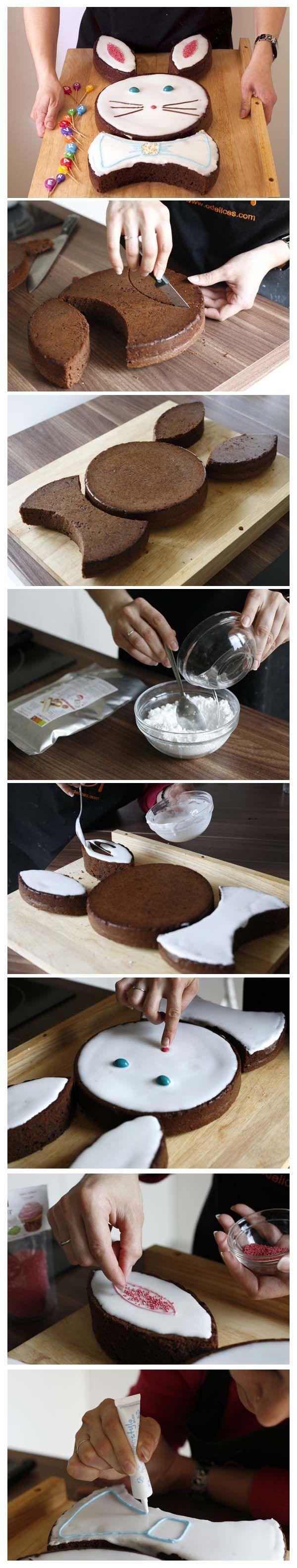 Einfach zwei runde Rührkuchen zubereiten (Am besten zwei Kleine oder einen großen und den dann in der Mitte durchschneiden). Dann alles so machen wie auf den Bildern.