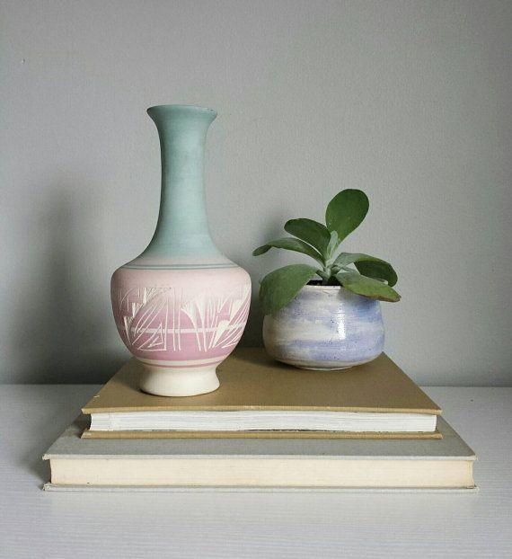 Southwestern Pottery Navajo Vase Blue by ShopMidCenturyModest  pastel pottery, cactus vase, light blue vase, white vase, blue vase, pastel planter, pastel plant pot, southwestern vase, aztec nursery boy girl decor, aztec planter, aztec pottery