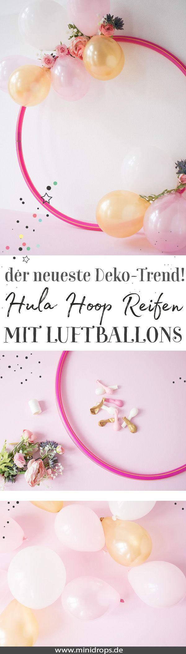 Hula Hoop Reifen mit Luftballons – minidrops – DIY Ideen: Party, Deko und Basteln
