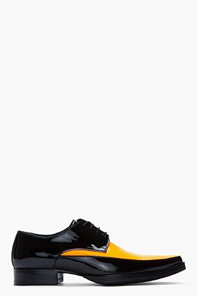Dsquared2 Black And Orange Patent Leather Shoes for men | SSENSE