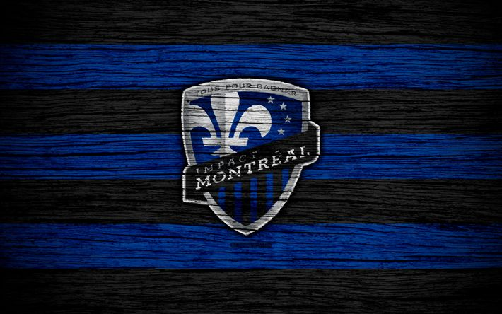 Download wallpapers Montreal Impact, 4k, MLS, wooden texture, Eastern Conference, football club, USA, Montreal Impact FC, soccer, logo, FC Montreal Impact
