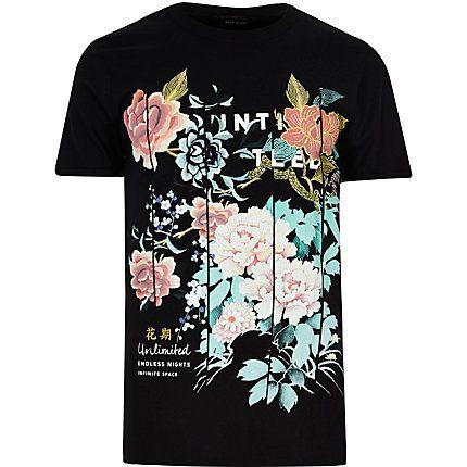 Black oriental floral print t-shirt �15.00