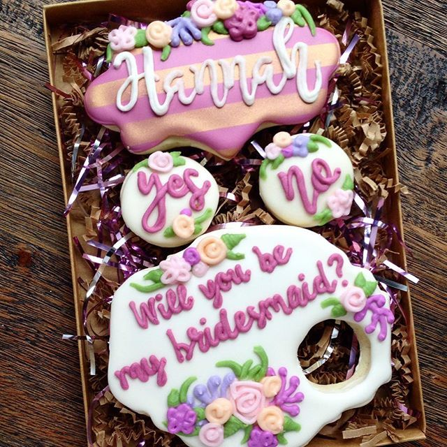 "Need a fun way to ask someone to be your bridesmaid?! Why not ask with a cookie?! Beautifully boxed up and too tasty to say ""no!"" This boxed set will be on display at the Bridal Expo in less than a week! This cookie was inspired by @sarahscookiejar bridesmaid cookie! #wvweddings"