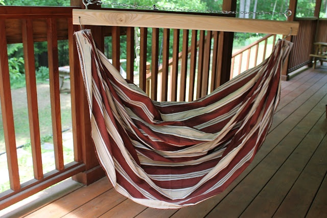 DIY hammock chair swing. Instructions are for kid-size, but I'm sure it can be extrapolated to adult size.