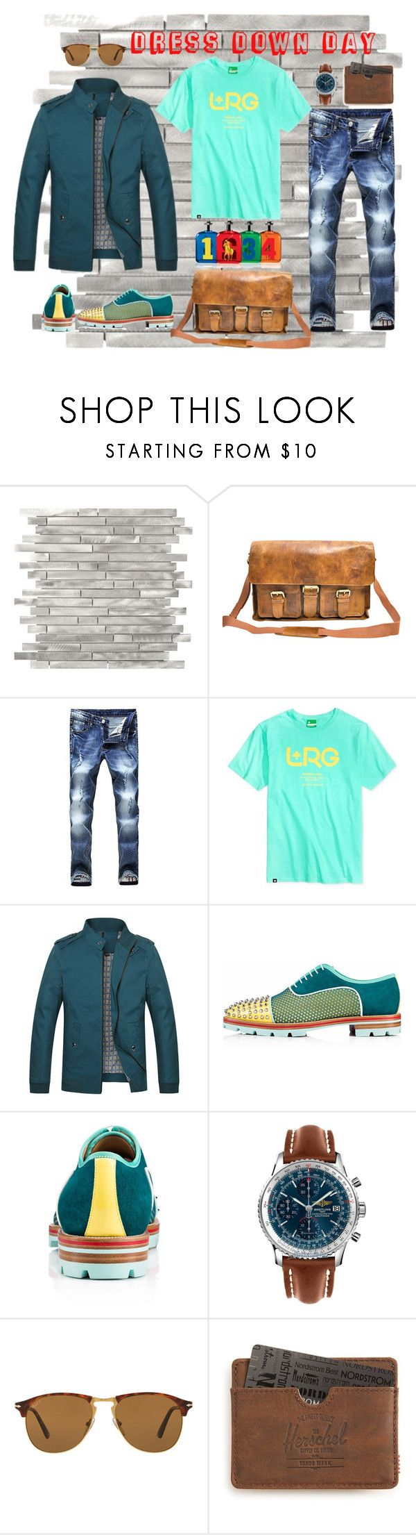 """""""Dress Down Day by D.Shaw"""" by b-signature-dshaw ❤ liked on Polyvore featuring Rawlings, LRG, Christian Louboutin, Breitling, Persol, Ralph Lauren, Herschel Supply Co., men's fashion, menswear and casual"""