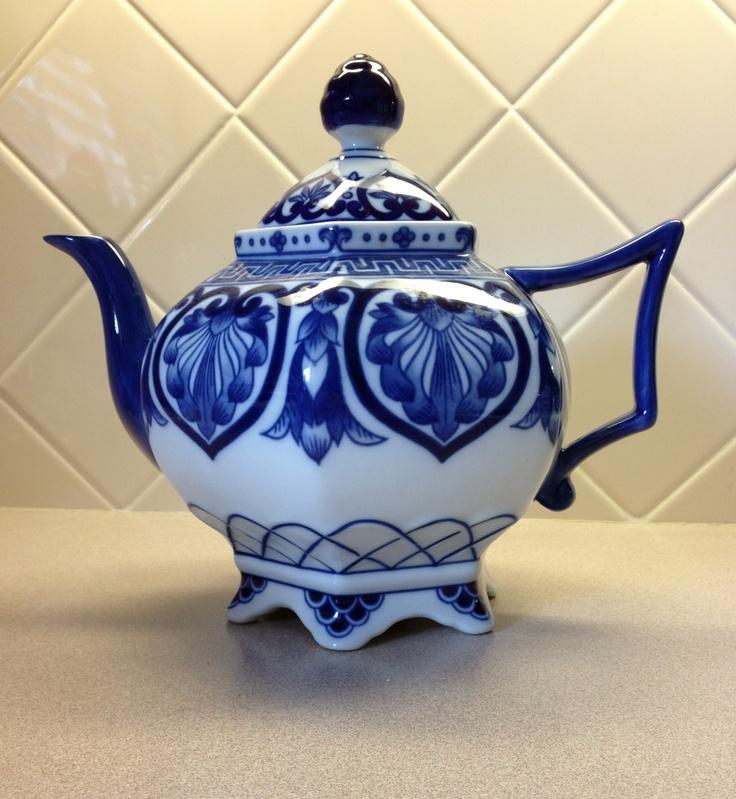 Beautiful Bombay Blue and White China Tea Pot